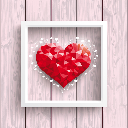 Low poly heart with frame on the wooden backround.. Eps 10 vector file.