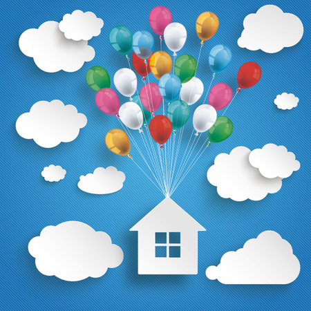home finances: Paper clouds and hanging house with colored balloons on the blue background. Eps 10 vector file.