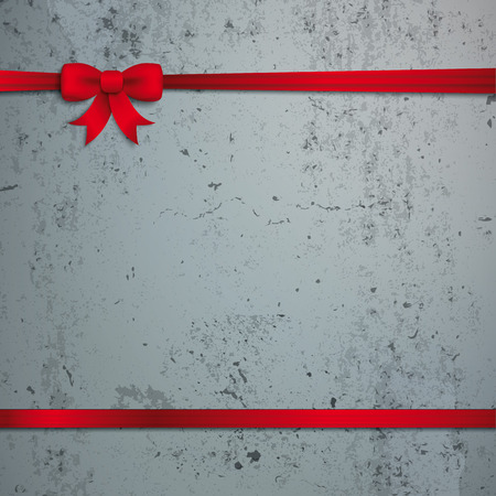 chit: Red ribbon on the concrete background. Eps 10 vector file.