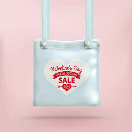 dating and romance: Purse bag with heart on the pink background. Eps 10 vector file.