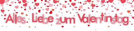 German text Alles Gute zum Valentinstag, translate Happy Valentines Day. Eps 10 vector file.