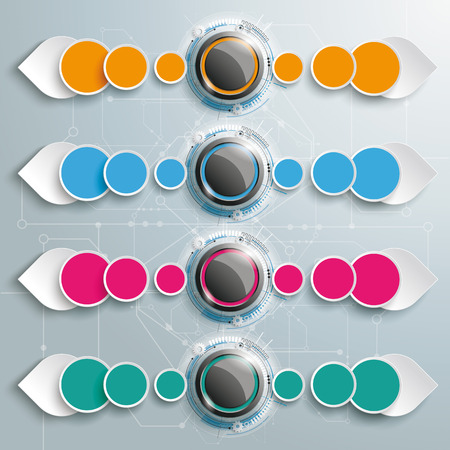 Infographic with buttons and abstract arrows on the gray background. Eps 10 vector file.