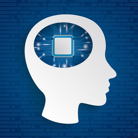 Infografica con cyborg testa su sfondo blu. Eps 10 file vettoriale. Vettoriali