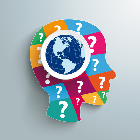 Infographic design with human head, globe and question marks. Eps 10 vector file. Illustration