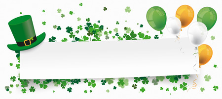 White paper banner for St Patricks Day. Eps 10 vector file. Illustration