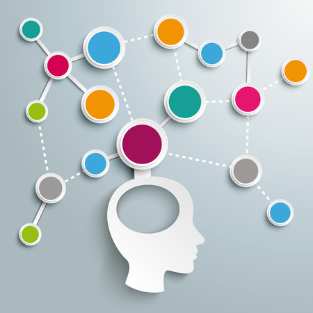 Infographic design with human head and network on the gray background. Eps 10 vector file. Illustration