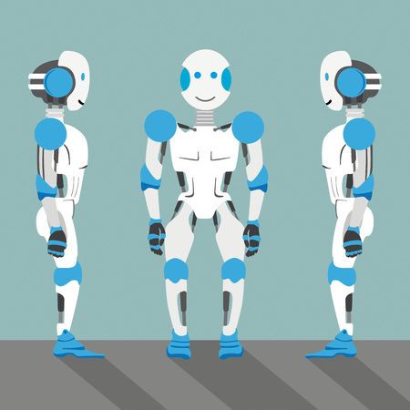 3 robot cartoons on the gray background. Eps 10 vector file.