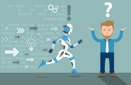 Running robot cartoon with businessman on the gray background. Eps 10 vector file.