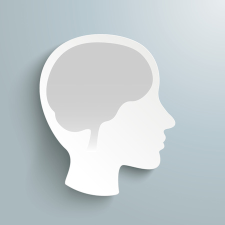 neurologist: Human head with brain on the gray background. Eps 10 vector file.