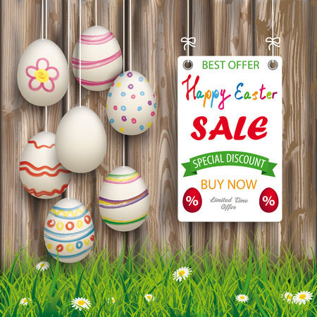 Hanging easter eggs with board on the wooden background for easter sale. Eps 10 vector file. Illustration