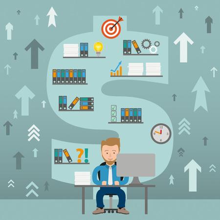 employe: Businessman cartoon in the office. Eps 10 vector file. Illustration