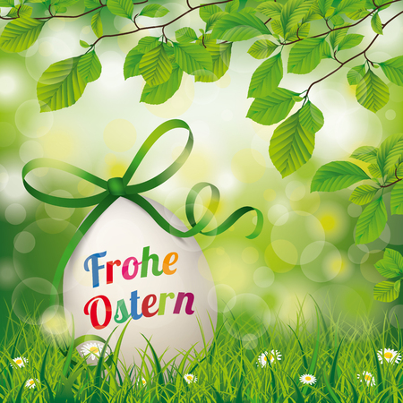 green paper: German text Frohe Ostern, translate Happy Easter. Eps 10 vector file.