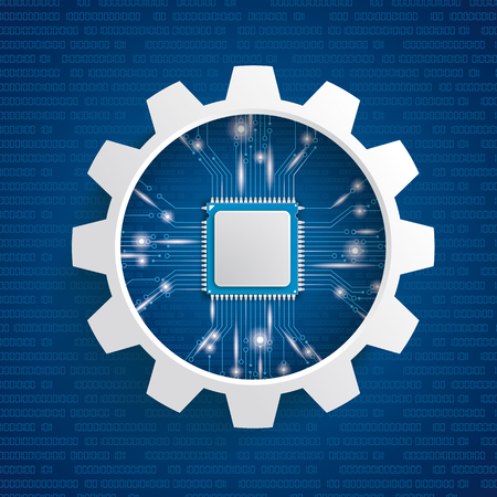 Infographic with gear wheel and microchip on the blue background. Eps 10 vector file.