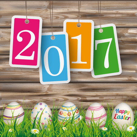 weathered wood: Price stickers with date 2017 on the wooden background with easter eggs in the grass.  Eps 10 vector file. Illustration