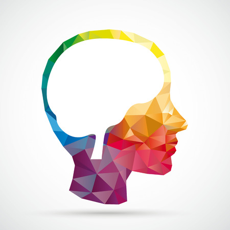 neurologist: Colored low poly human head with white brain on the white background. Eps 10 vector file. Illustration
