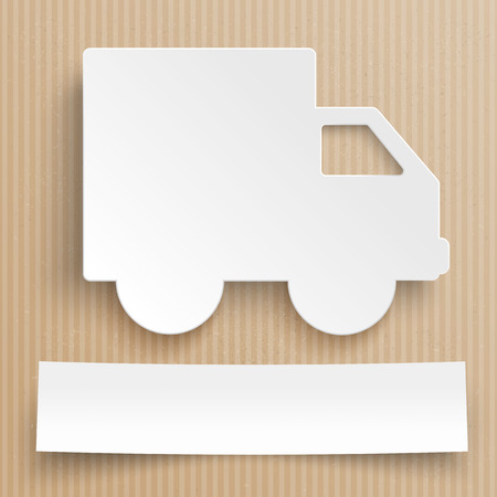 car: Delivery car with paper banner on the cardboard. Eps 10 vector file.