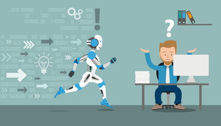 robotic transmission: Running robot cartoon with businessman in an office on the gray background. Eps 10 vector file. Illustration