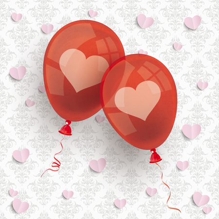 2 red balloons on the wallpaper with ornaments background. Eps 10 vector file.