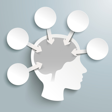 neurologist: Human head with brain, circles and arrows on the gray background. Eps 10 vector file.