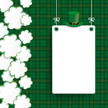 Vintage cover with shamrocks, board and tartan for St. Patricks Day. Eps 10 vector file. Illustration
