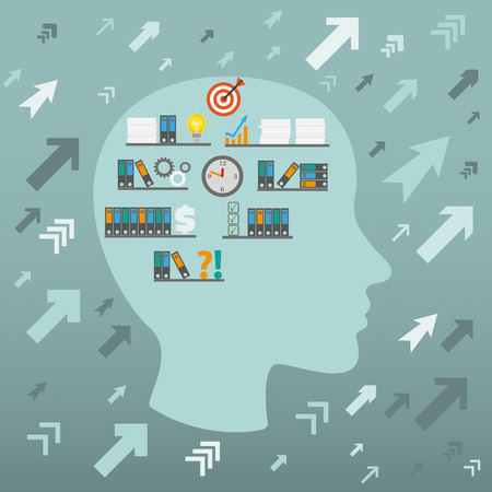 employe: Human head with arrows and career symbols. Eps 10 vector file.
