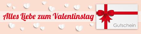 chit: German text Alles Liebe zum Valentinstag, translate Happy Valentines Day. Illustration