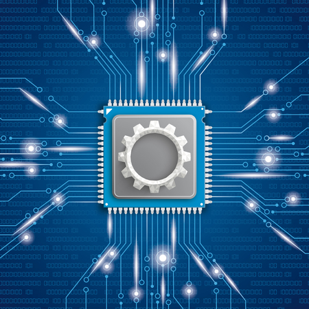 Microchip processor with gear wheel on the blue background. Eps 10 vector file. Illustration