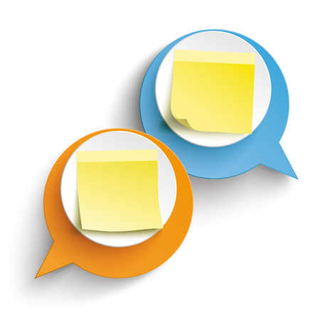 Two speech bubbles with yellow sticks on the white background. Eps 10 vector file. Illustration