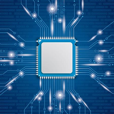 Processador Microchip com luzes no fundo azul. Eps 10 arquivo vetorial.