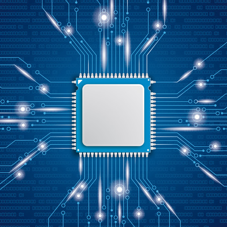 Microchip processor with lights on the blue background. Eps 10 vector file.