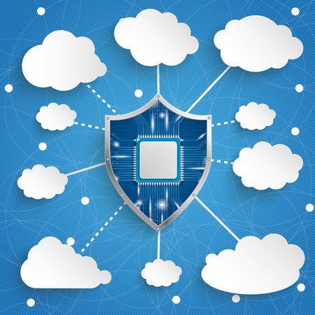 smarthone: Protection shield with chip and clouds on the blue background. Eps 10 vector file.