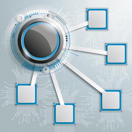 Disegno infografico con microchip sullo sfondo grigio. Eps 10 file vettoriale. Vettoriali