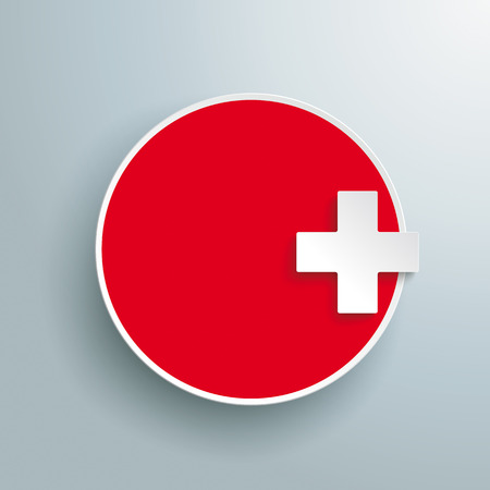 affix: Red paper circle with paper cross on the gray background. Eps 10 vector file. Illustration