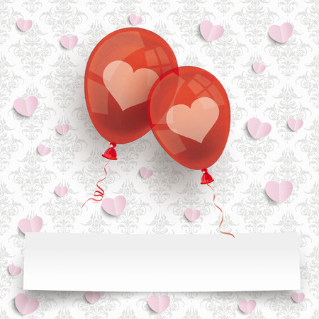 2 red balloons banner on the wallpaper with ornaments background. Eps 10 vector file. Illustration