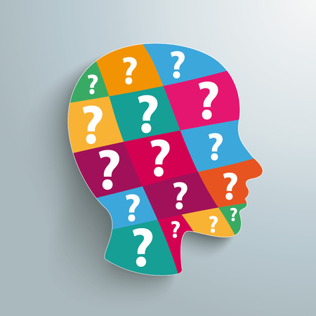 Infographic design with human head and question marks. Eps 10 vector file. Illustration