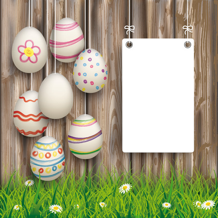 weathered wood: Hanging easter eggs with board on the wooden background. Eps 10 vector file.