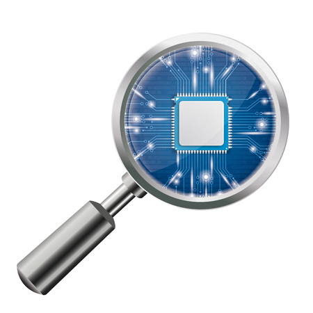 flaw: Transparent loupe with microchip on the white background. Eps 10 vector file.