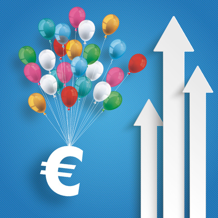 credit union: White arrows with balloons and euro on the blue background. Eps 10 vector file. Illustration