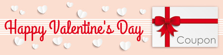 chit: Valentines Day header with hearts and coupon. Eps 10 vector file. Illustration