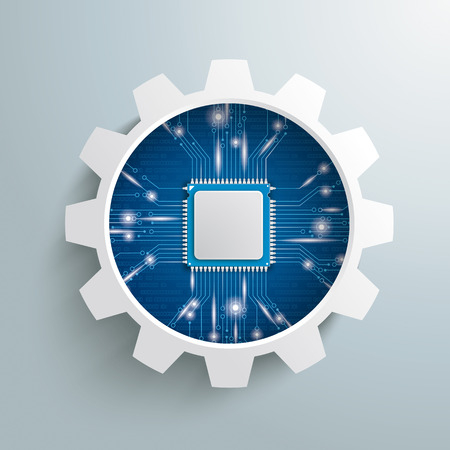 Infographic with gear wheel and microchip on the gray background. Eps 10 vector file.