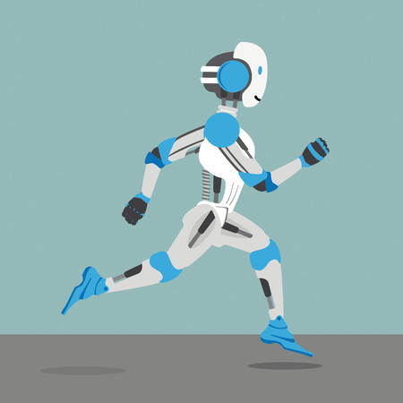 Running robot cartoon on the gray background. Eps 10 vector file.