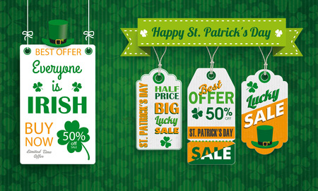 heart month: Vintage background with white frame and price stickers for St Patricks Day. Eps 10 vector file.