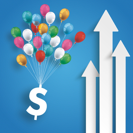 White arrows with balloons and dollar on the blue background. Eps 10 vector file.