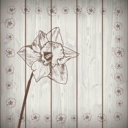 oak wood: Flowers on the wooden background. Eps 10 vector file.