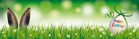Easter egg with green ribbon in the grass with rabbit ears. Eps 10 vector file.