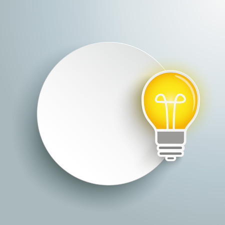 idea bulb: Paper circle with bulb on the gray background. Eps 10 vector file. Illustration