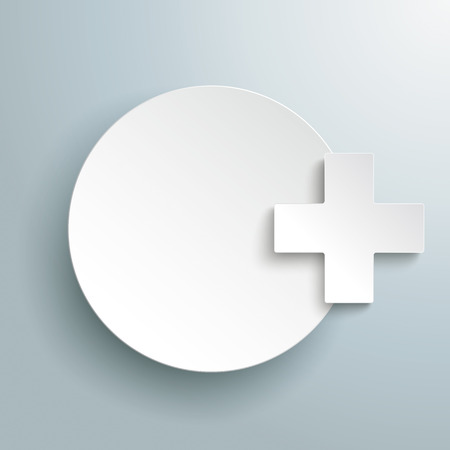 affix: Paper circle with paper cross on the gray background. Eps 10 vector file. Stock Photo
