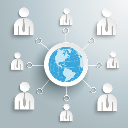 Business social network with globe in the centre. Eps 10 vector file.