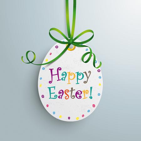 ten best: White price sticker egg with green ribbon.  Eps 10 vector file.