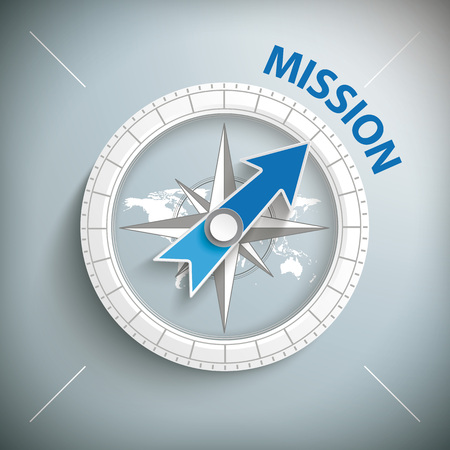 Compass with text Mission on the gray background. Eps 10 vector file.